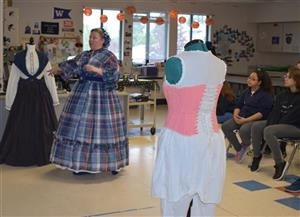 Mrs. Bryan presents about Victorian Clothing