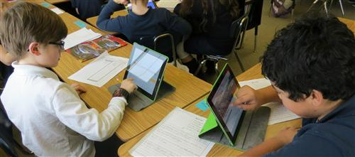 Students using iPad's in class