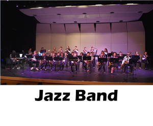 The jazz band performs on stage.