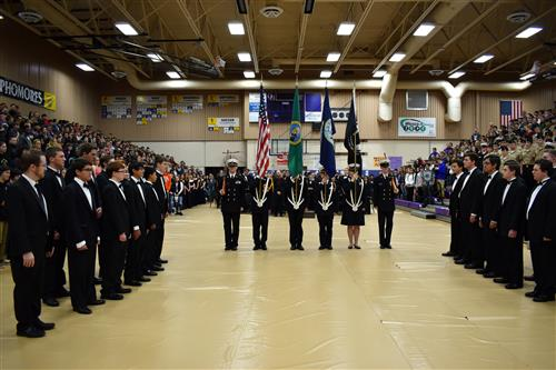ROTC and choir together at the Veterans Day Assembly