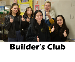 Members of the builders club give excited thumbs ups!