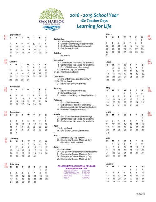 our school 2018 19 calendar at a glance